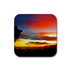 Sunset Mountain Indonesia Adventure Rubber Coaster (square)  by Celenk