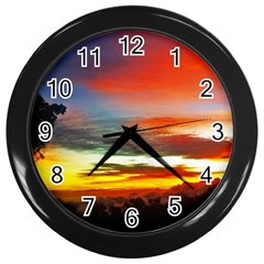 Sunset Mountain Indonesia Adventure Wall Clocks (black) by Celenk