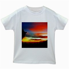 Sunset Mountain Indonesia Adventure Kids White T Shirts by Celenk