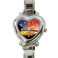 Sunset Mountain Indonesia Adventure Heart Italian Charm Watch by Celenk