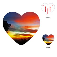 Sunset Mountain Indonesia Adventure Playing Cards (heart)  by Celenk