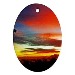 Sunset Mountain Indonesia Adventure Oval Ornament (two Sides) by Celenk