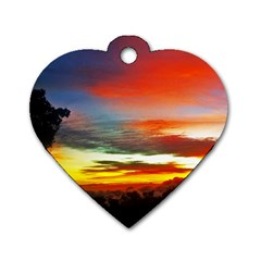 Sunset Mountain Indonesia Adventure Dog Tag Heart (two Sides) by Celenk