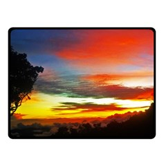Sunset Mountain Indonesia Adventure Fleece Blanket (small) by Celenk