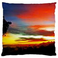 Sunset Mountain Indonesia Adventure Large Cushion Case (one Side) by Celenk