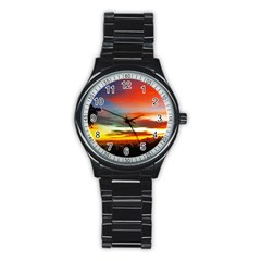 Sunset Mountain Indonesia Adventure Stainless Steel Round Watch by Celenk