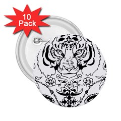 Tiger Animal Decoration Flower 2 25  Buttons (10 Pack)  by Celenk