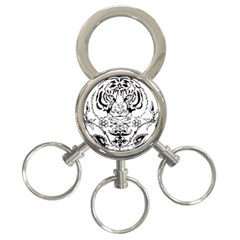 Tiger Animal Decoration Flower 3 Ring Key Chains by Celenk