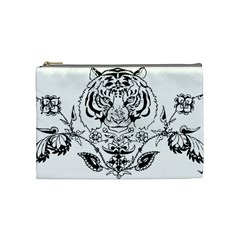 Tiger Animal Decoration Flower Cosmetic Bag (medium)
