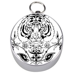 Tiger Animal Decoration Flower Silver Compasses by Celenk