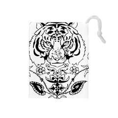 Tiger Animal Decoration Flower Drawstring Pouches (medium)  by Celenk
