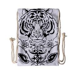 Tiger Animal Decoration Flower Drawstring Bag (small) by Celenk