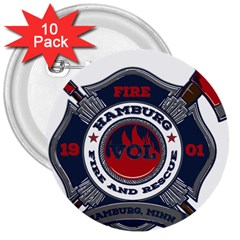 Hamburg, Minn Fire Dept 3  Buttons (10 Pack)  by allthingseveryday