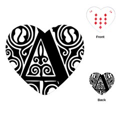 Alphabet Calligraphy Font A Letter Playing Cards (heart)  by Celenk