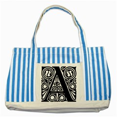 Alphabet Calligraphy Font A Letter Striped Blue Tote Bag by Celenk