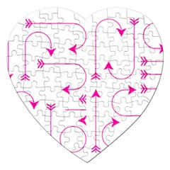 Arrows Girly Pink Cute Decorative Jigsaw Puzzle (heart) by Celenk