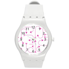 Arrows Girly Pink Cute Decorative Round Plastic Sport Watch (m)