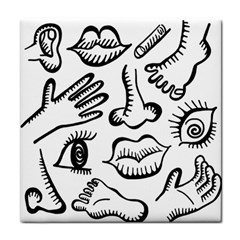 Anatomy Icons Shapes Ear Lips Tile Coasters