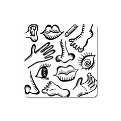Anatomy Icons Shapes Ear Lips Square Magnet