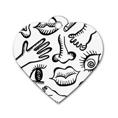 Anatomy Icons Shapes Ear Lips Dog Tag Heart (two Sides)