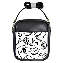 Anatomy Icons Shapes Ear Lips Girls Sling Bags
