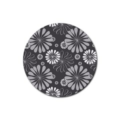 Floral Pattern Floral Background Rubber Coaster (round)  by Celenk