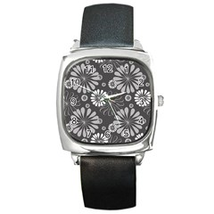 Floral Pattern Floral Background Square Metal Watch by Celenk