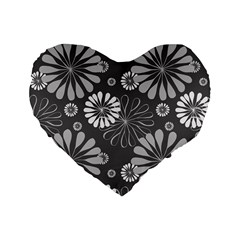 Floral Pattern Floral Background Standard 16  Premium Flano Heart Shape Cushions