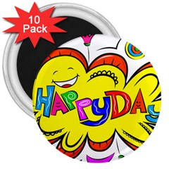 Happy Happiness Child Smile Joy 3  Magnets (10 Pack)