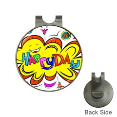 Happy Happiness Child Smile Joy Hat Clips With Golf Markers by Celenk