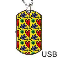 Seamless Tile Repeat Pattern Dog Tag Usb Flash (one Side) by Celenk