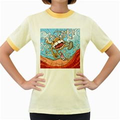 Illustration Characters Comics Draw Women s Fitted Ringer T Shirts by Celenk