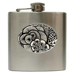 Background Abstract Beige Black Hip Flask (6 Oz) by Celenk
