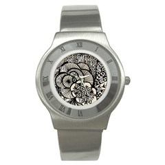 Background Abstract Beige Black Stainless Steel Watch