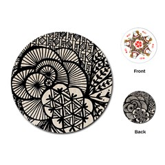 Background Abstract Beige Black Playing Cards (round)  by Celenk