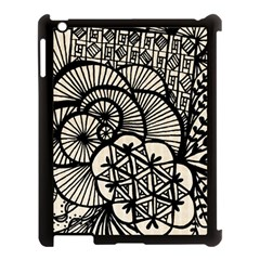 Background Abstract Beige Black Apple Ipad 3/4 Case (black) by Celenk
