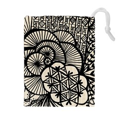 Background Abstract Beige Black Drawstring Pouches (extra Large) by Celenk
