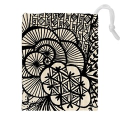 Background Abstract Beige Black Drawstring Pouches (xxl) by Celenk