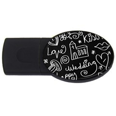 Wedding Chalkboard Icons Set Usb Flash Drive Oval (4 Gb) by Celenk