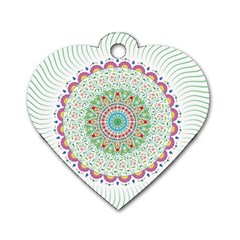 Flower Abstract Floral Dog Tag Heart (two Sides)