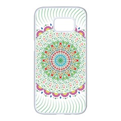 Flower Abstract Floral Samsung Galaxy S7 Edge White Seamless Case by Celenk