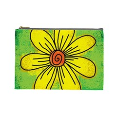 Flower Cartoon Painting Painted Cosmetic Bag (large)  by Celenk