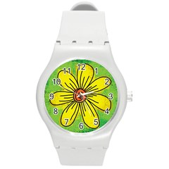Flower Cartoon Painting Painted Round Plastic Sport Watch (m) by Celenk