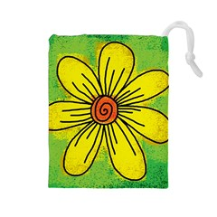 Flower Cartoon Painting Painted Drawstring Pouches (large)  by Celenk