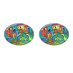 Painting Painted Ink Cartoon Cufflinks (oval)