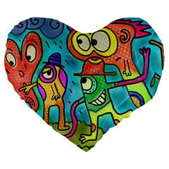 Painting Painted Ink Cartoon Large 19  Premium Flano Heart Shape Cushions by Celenk