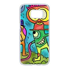 Painting Painted Ink Cartoon Samsung Galaxy S7 Edge White Seamless Case by Celenk