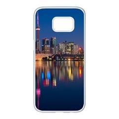 Buildings Can Cn Tower Canada Samsung Galaxy S7 Edge White Seamless Case by Celenk