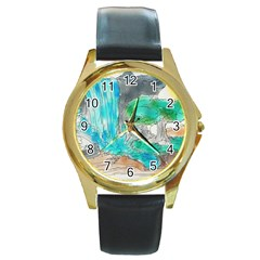 Doodle Sketch Drawing Landscape Round Gold Metal Watch by Celenk