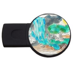 Doodle Sketch Drawing Landscape Usb Flash Drive Round (2 Gb)